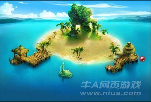 这是牛a《神魔仙界》游戏中的阳光海滩场景